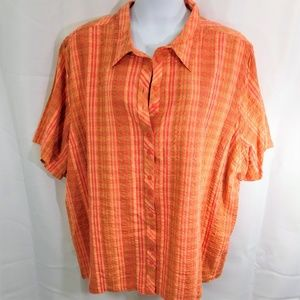 Liz & Me Short Sleeve Cotton Camp Shirt 5X NWT 34
